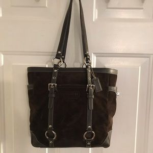 Coach F12834 Brown Suede Leather Tote Bag